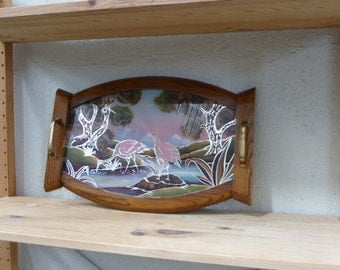 Tray very old, glass and wood, asian painted design, the birds