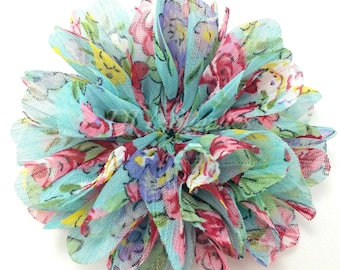 Chloe floral chiffon flower - 2.5 inch fabric flower - Ballerina ruffle flower - Wholesale flowers - Hair flower - Appliqué flower