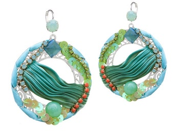 Silk Shibori turquoise and green rhinestone-bijou earrings couture