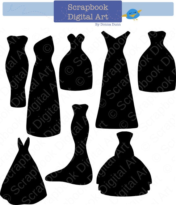 Black Dress Silhouette Clip Art Bridesmaid Dresses Wedding