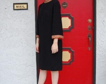Vintage 60s Black Long Sleeve Swing Shift Dress w/ Embellished Collar & Sleeves