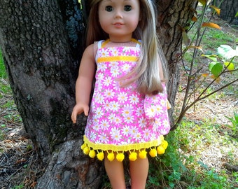 18 inch doll pink daisy apron