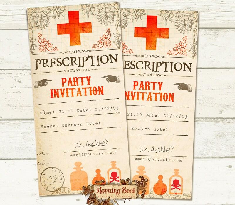 Printable Invitations Prescription invitation Halloween party