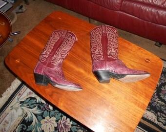 Vintage Dan Post Womans Western Lizard Rockabilly Boots size 6 A