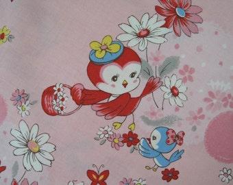 "Half Yard of Yuwa Atsuko Matsuyama 30's Collection Birdie Fabric in Pink. Approx. 18"" x 44"" Made in Japan."