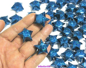 70pcs Big Size BLUE Color Origami Lucky Stars. (4D Glittering Paper Series). #FOS-18.