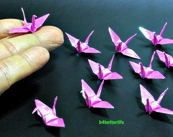 """100pcs Pink Color 1.5"""" Origami Cranes Hand-folded From 1.5""""x1.5"""" Square Paper. (TX paper series). #FC15-19."""