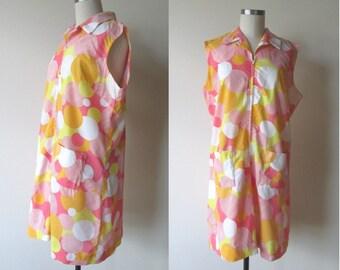 60's Romper MOD Flutterbye pink yellow and orange Polka Dots plus size 20