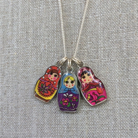 Russian Doll Charm Necklace Matryoshka Charms by Contortum on Etsy