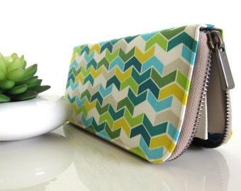 VEGAN WALLET, Womens Wallet on green shade chevron, Women's Wallet Clutch, Wallets for your goodies Safety and Be You.!!
