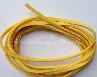 Yellow Faux Suede Leather Cord Size 3mm 5yards/bundle