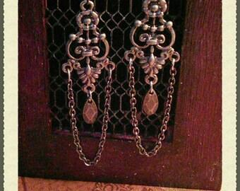Ornate Scroll Drop Earrings
