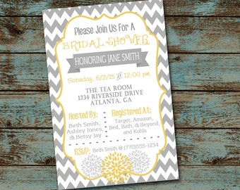 Gray Chevron Bridal Shower invitation, yellow and gray invitiation, digital file