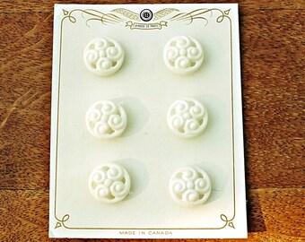 Set of 6 White Pierced Plastic Vintage Buttons on Original La Mode de Paris Card from the 1920s ~ 19mm