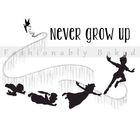peter pan and gang shadow silhouettes flying quotnever grow