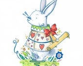 The White Rabbit, Alice in Wonderland - A6 Greetings Card (Rabbit, Books, Kidlit, Story, Illustration, Classic)