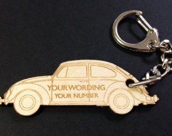 VW Beetle Personalised Keyring