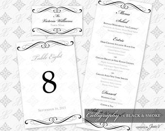 DIY Printable Wedding Reception Template Set   Printable Wedding Table Setting Décor   Calligraphy in Black & Smoke