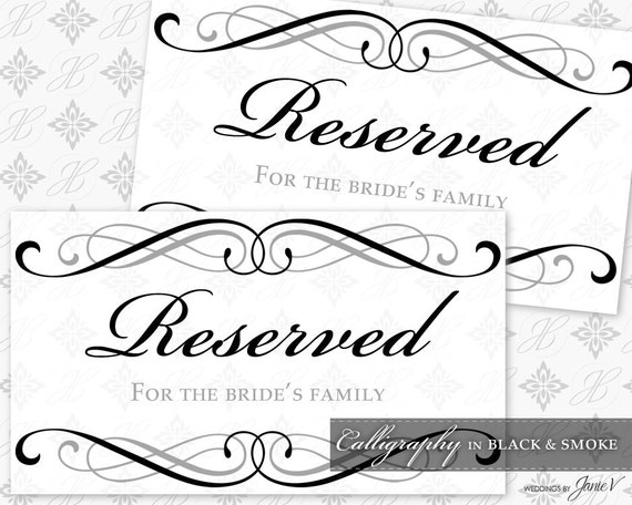 Wedding reserved sign template wwwpixsharkcom images galleries with a bite for Wedding signs templates