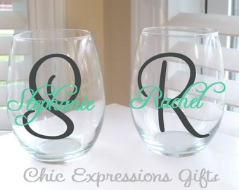Personalized 20 oz stemless wine glass
