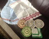 Vintage Crochet Pot Holders and Embroidered Towels