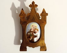 French Vintage Small Framed Hand Painted Porcelain Portrait Of Saint Anthony With Baby Jesus