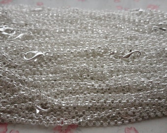 30pcs 2.5*2.5mm width 18 inches Shiny Silver color plated Metal Link Necklace Chain , MN3194-30