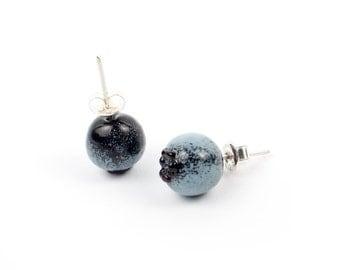 Blueberry lampwork earrings /925 silver / summer berries / Realistic Blueberries Studs / Summer / Garden / Forest / Berry