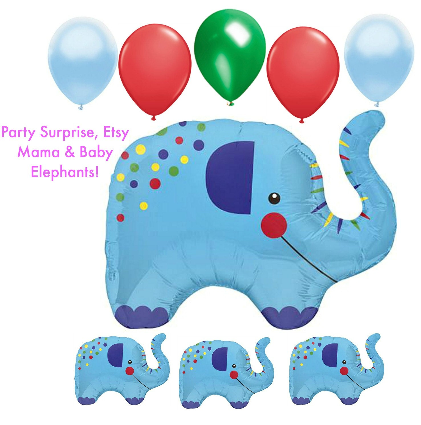 elephant balloons mama and 3 babies baby shower by partysurprise