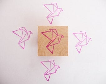 Origami flying bird hand carved rubber stamp