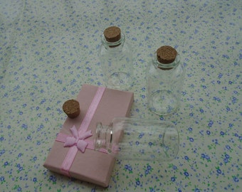 20pcs 55*30mm clear glass bottle with cork , BB2001