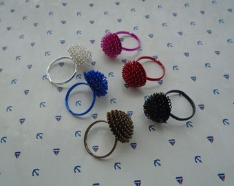 20pcs mixed color adjustable ring with flower pad , RB2036