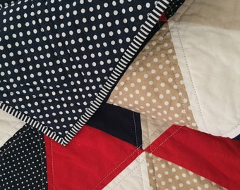 Red Navy Geometric Cot Quilt