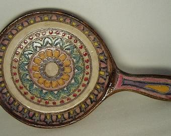 midcentury handled pottery bowl Bitossi signed Vitali or Sitali