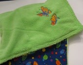 Minky Baby Blanket with Embroidered Butterfly designs and Butterflies and Bugs Fabric Backing