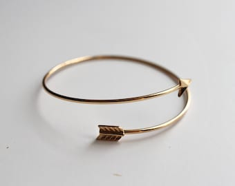 Bow and arrow bangle adjustable bracelet, Gold plated Simple Stacking Jewellery