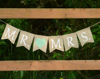Mr and Mrs Burlap Banner - Mr Mrs Banner Wedding Banner Wedding Decoration Photo Prop