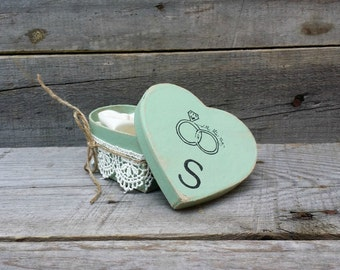 Jade Rustic Ring Bearer Heart Shaped Pillow Box, Rustic Ring Bearer Pillow Alternative, Wedding Ring Holder, Personalized Ring Box