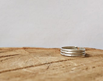 Trio Toe Ring - Sterling Silver Toe Ring