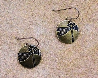 Bronze Dragonfly  Earrings, bronze earrings, dragonfly jewelry, dragonfly charm