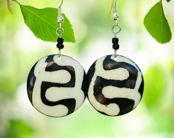 Black and White Geometric Earrings from Kenya