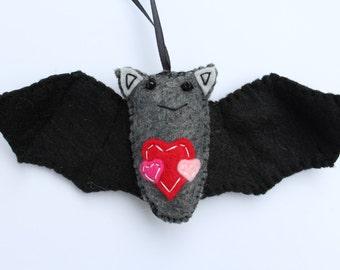 Black Bat Ornament, Plush Bat Ornament, Valentine's Day Bat Ornament, Whimisical Felt Bat, Bat Lover's Gift Idea