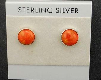Apple Coral 10 MM Sterling Silver Stud Post Earrings