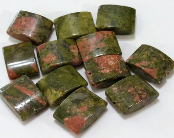 ON SALE - Unakite, Natural, Rectangular, Pillow, Bead, Set of 12, Moss, Green, Salmon, Color, Gemstones, Jewelry, Beading, Supply