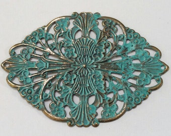 Verdigris, Patina, Filigree, Extra Large, Blue Green, Finding, Vintage Style, Pendant, Component, Jewelry, Beading, Mixed Media, Supplies