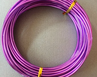 Purple Aluminum wire 9 gauge - 3mm - 10 ft anodized wire. Jewelry making, crafting, Floral crafts