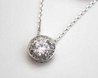 Bridal Single Stone Necklace