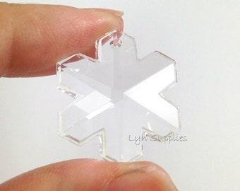 25mm 6704 CRYSTAL 2pcs Swarovski Crystal Snowflake Clear Transparent Colorless