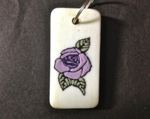 Domino, Hand Painted Domino, Lavender Rose, Purple Rose, Charm