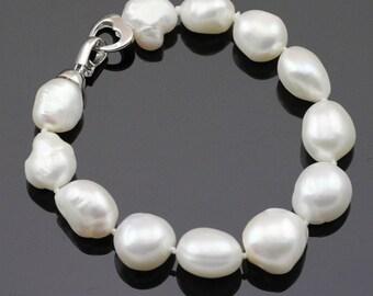 Large baroque pearl bracelet,12-14mm large pearl bracelet,irregular pearl bracelet,bridal pearl bracelet,wedding real pearl bracelet for mom